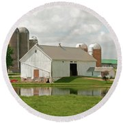 Peterson Mill Round Beach Towel by Trey Foerster
