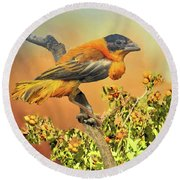 Round Beach Towel featuring the photograph Petit Oiseau Dans Plaqueminier Or Small Bird In Persimmons  by Janette Boyd