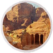 Petra Buildings, Pond And Gardens Complex Round Beach Towel