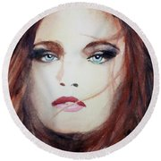 Round Beach Towel featuring the painting Petra by Ed Heaton