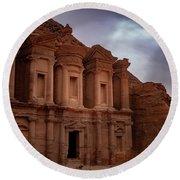 Petra's Monastery Round Beach Towel