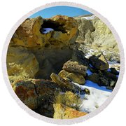 Petrified Log Bisti Badlands Round Beach Towel