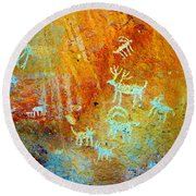 Petroglyph Panel Work 12 Round Beach Towel