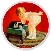 Round Beach Towel featuring the painting Petting The Cat George Leslie Rapp 1920 by Peter Gumaer Ogden