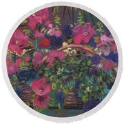 A Basket Of Petunias Round Beach Towel by Donald Maier