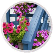Round Beach Towel featuring the photograph Petunias On Blue Porch by Elena Elisseeva