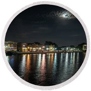 Pewaukee At Night Round Beach Towel