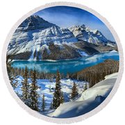 Peyto Lake Winter Panorama Round Beach Towel