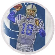 Peyton Manning Indianapolis Colts Oil Art Round Beach Towel