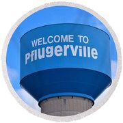 Pflugerville Texas - Water Tower Round Beach Towel