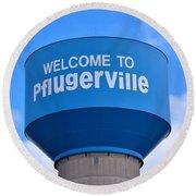 Pflugerville Texas - Water Tower Round Beach Towel
