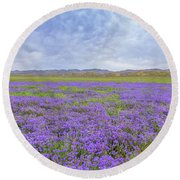 Round Beach Towel featuring the photograph Phacelia Field by Marc Crumpler