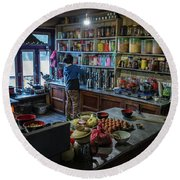 Round Beach Towel featuring the photograph Phakding Teahouse Kitchen Morning by Mike Reid