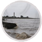 Round Beach Towel featuring the photograph phare de Richard by Marc Philippe Joly