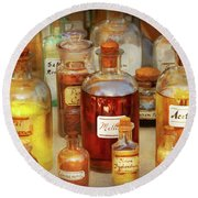 Pharmacy - Serums And Elixirs Round Beach Towel by Mike Savad