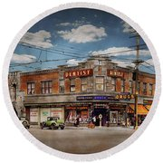 Round Beach Towel featuring the photograph Pharmacy - The Corner Drugstore 1910 by Mike Savad