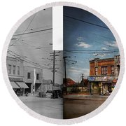 Round Beach Towel featuring the photograph Pharmacy - The Corner Drugstore 1910 - Side By Side by Mike Savad