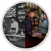 Round Beach Towel featuring the photograph Pharmacy - The Dispensing Chemist 1918 - Side By Side by Mike Savad
