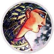 Round Beach Towel featuring the digital art Pharoah Of Egypt by Pennie  McCracken