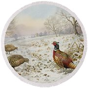 Pheasant And Partridges In A Snowy Landscape Round Beach Towel by Carl Donner