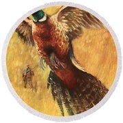 Pheasant Hunter Round Beach Towel