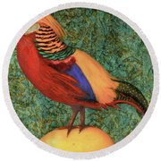 Pheasant On A Lemon Round Beach Towel by Leah Saulnier The Painting Maniac
