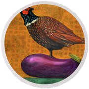 Pheasant On An Eggplant Round Beach Towel by Leah Saulnier The Painting Maniac