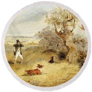 Pheasant Shooting Round Beach Towel by Henry Thomas Alken