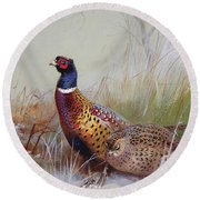 Pheasants In The Snow Round Beach Towel by Archibald Thorburn