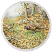 Pheasants With Blue Tits Round Beach Towel by Carl Donner