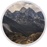 Round Beach Towel featuring the photograph Pheriche In The Valley by Mike Reid
