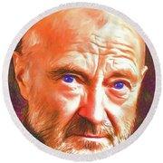 Round Beach Towel featuring the digital art Phil Collins by John Haldane