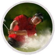 Phil Mickelson - Lefty In Action Round Beach Towel by Colleen Taylor