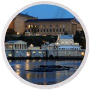 Philadelphia Art Museum And Fairmount Water Works Round Beach Towel