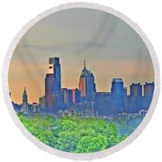 Philadelphia At Sunrise Round Beach Towel