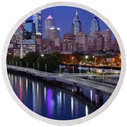 Philadelphia Blue Hour Round Beach Towel by Frozen in Time Fine Art Photography