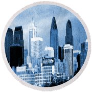 Philadelphia Blue - Watercolor Round Beach Towel