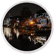 Philadelphia Boathouse Row At Night Round Beach Towel