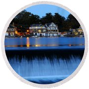 Philadelphia Boathouse Row At Twilight Round Beach Towel