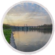 Round Beach Towel featuring the photograph Philadelphia Cityscape From The Schuylkill In The Morning by Bill Cannon