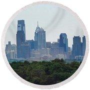Philadelphia Green Skyline Round Beach Towel by Ian  MacDonald