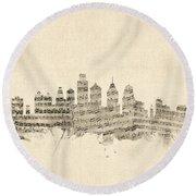 Philadelphia Pennsylvania Skyline Sheet Music Cityscape Round Beach Towel