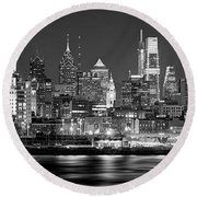 Philadelphia Philly Skyline At Night From East Black And White Bw Round Beach Towel