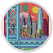 Philadelphia Pop Art Travel Poster Round Beach Towel