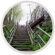 Round Beach Towel featuring the photograph Philadelphia - Roxborough Avenue Steps by Bill Cannon