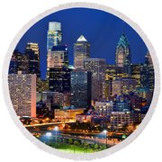 Philadelphia Skyline At Night Round Beach Towel