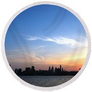 Philadelphia Skyline Low Horizon Sunset Round Beach Towel