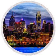 Round Beach Towel featuring the photograph Philadelphia Skyline by Nick Zelinsky