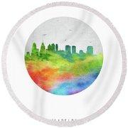 Philadelphia Skyline Uspaph20 Round Beach Towel by Aged Pixel