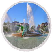 Round Beach Towel featuring the photograph Philadelphia - Swann Fountain At Logan Square by Bill Cannon